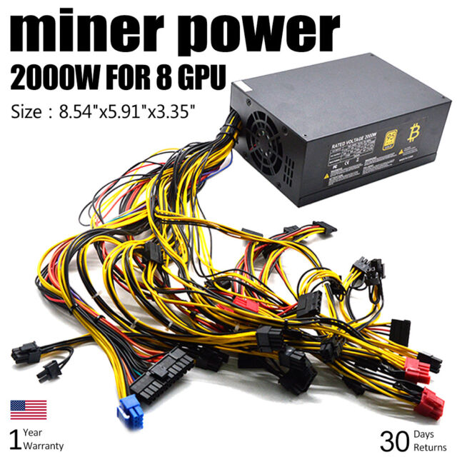 2000W 110V Power Supply For 8 GPU Eth Rig Ethereum Coin Mining Miner  Machine KPA