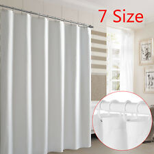 Waterproof Fabric White Bathroom Shower Curtain Plain With Hooks Ring Extra Long