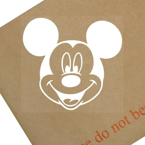 Mickey Mouse Head-Car Window Sticker White-Vinyl,Bumper,Child,Kids,Micky Sign
