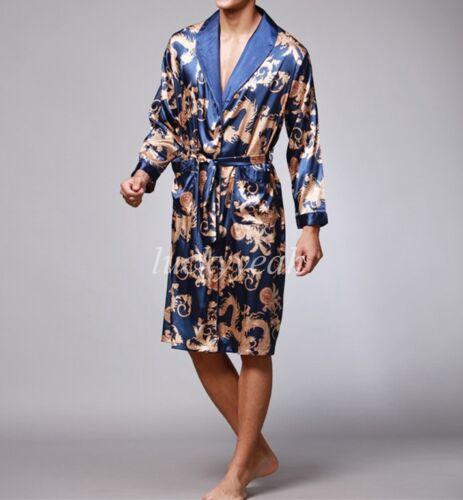 Mens Chinese Japanese Oriental Gold Dragons Bathrobe Dressing Gown Loungewear
