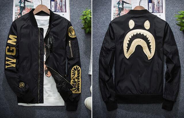 812277652d3a Men s Shark Head Japan Aape Jacket A bathing Ape Flight Zip Coat Outwear