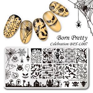 BORN-PRETTY-Nagel-Stempel-Schablone-Nail-Art-Stamping-Plate-Halloween-Muster-DIY