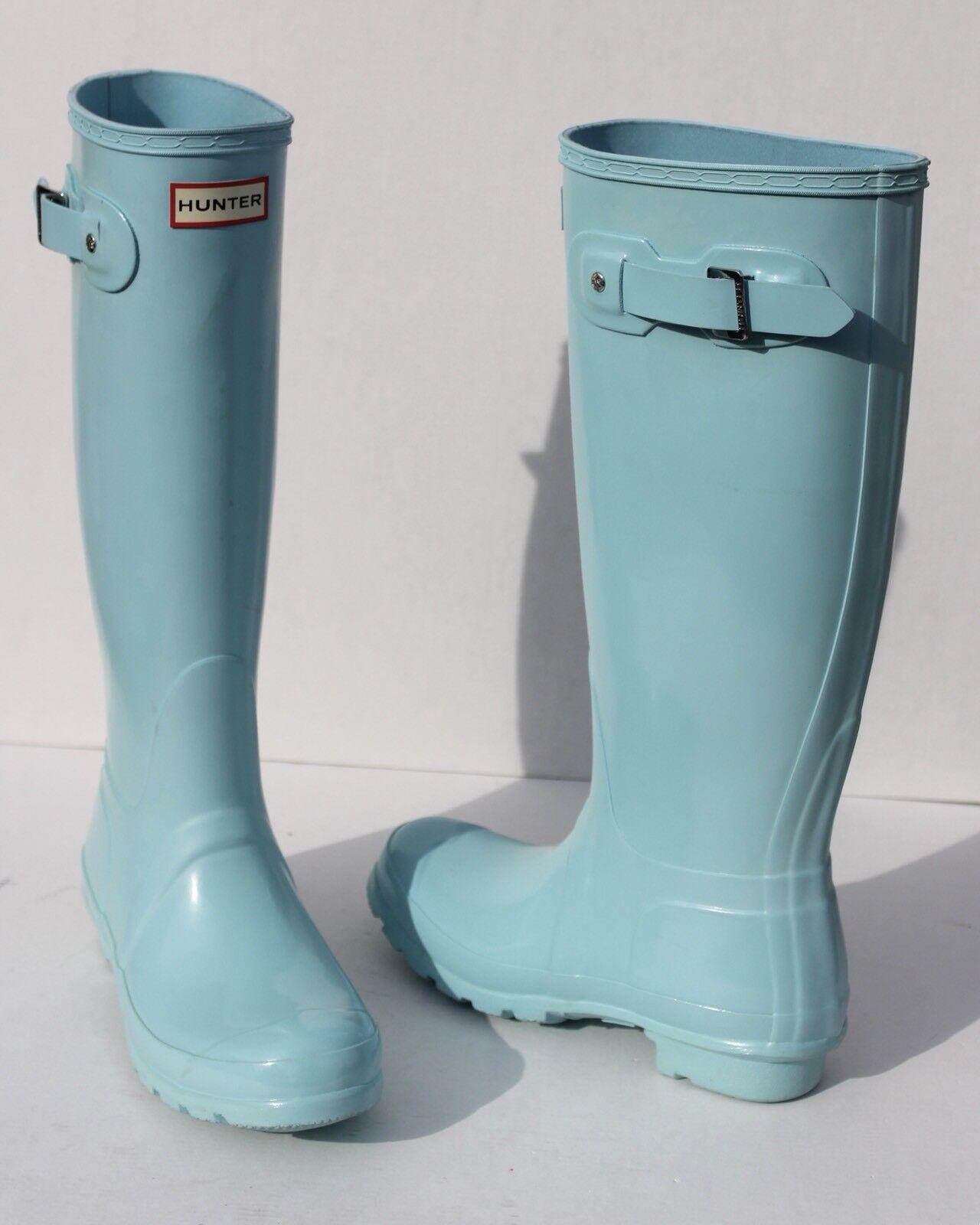 Hunter Original Tall Gloss  Pale Mint Rain Boots Size 6