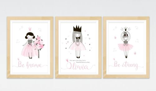 3 Fairy Tale Princess Prints Personalised Posters Nursery Wall Art Girls Room
