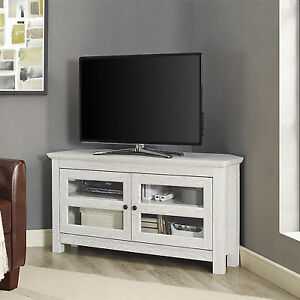 Walker Edison 44 Wood Corner Tv Stand Media Storage Console In White Wq44ccrww