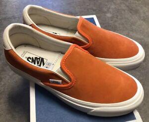 bd4726941a Vans OG Slip On 59 LX Suede Red Orange Marshmallow Sz 12 NIB