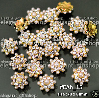 10pcs Nail Art Tips Decoration (8 x 8)mm Gold Alloy Jewelry Glitter Pearl #EAh15