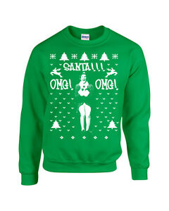 Santa Omg Elf Buddy Will Ferrell Christmas Ugly Sweater Crew