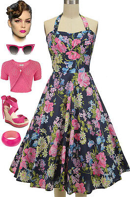 50s Style NAVY with Pink Florals SHELF BUST Halter or Strapless PINUP Sun Dress