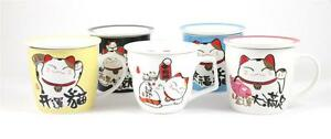 Fortune-Cat-Maneki-Neko-Mug-Cup-Lucky-Cat-Lidded-Saucer-Colourful