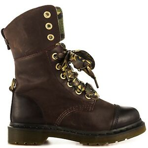 Dr. Doc Martens Aimilita 9-Eye Brown Leather Fold-Down Combat Boot ... 31dd9347d2d9