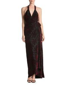 Gown 275 Erica Velvet The Borgogna Population Abito Wrap M Medio Floral wxTYvaqa