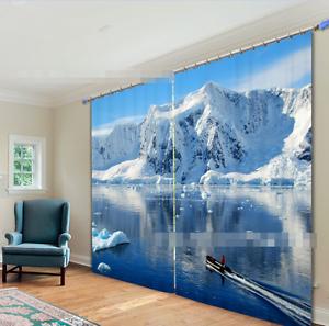 3D Nieve Hielo 7 Cortinas de impresión de cortina de foto Blockout Tela Cortinas Ventana CA