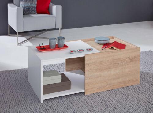 Maisons de table universel extensible chêne sägerau NB Blanc Table basse Salon