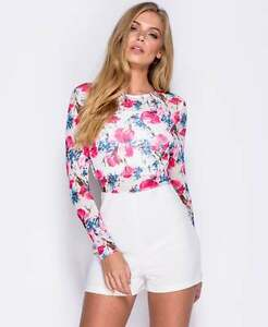 Long-Sleeve-Playsuit-White-amp-Pink-Floral-Print-Mesh-Top-UK-Sizes-6-8-10-12-14