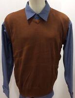 Men's Solid Rust Color Sweater Vest,bagazio Sizes Meduim - 3 Xlarge With Tag