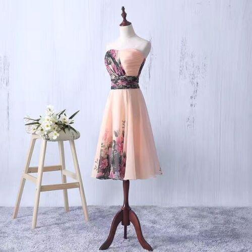 Floral Chiffon Abendkleid Ballkleid Cocktailkleid Blumenprint Kleid 34-42 BC262