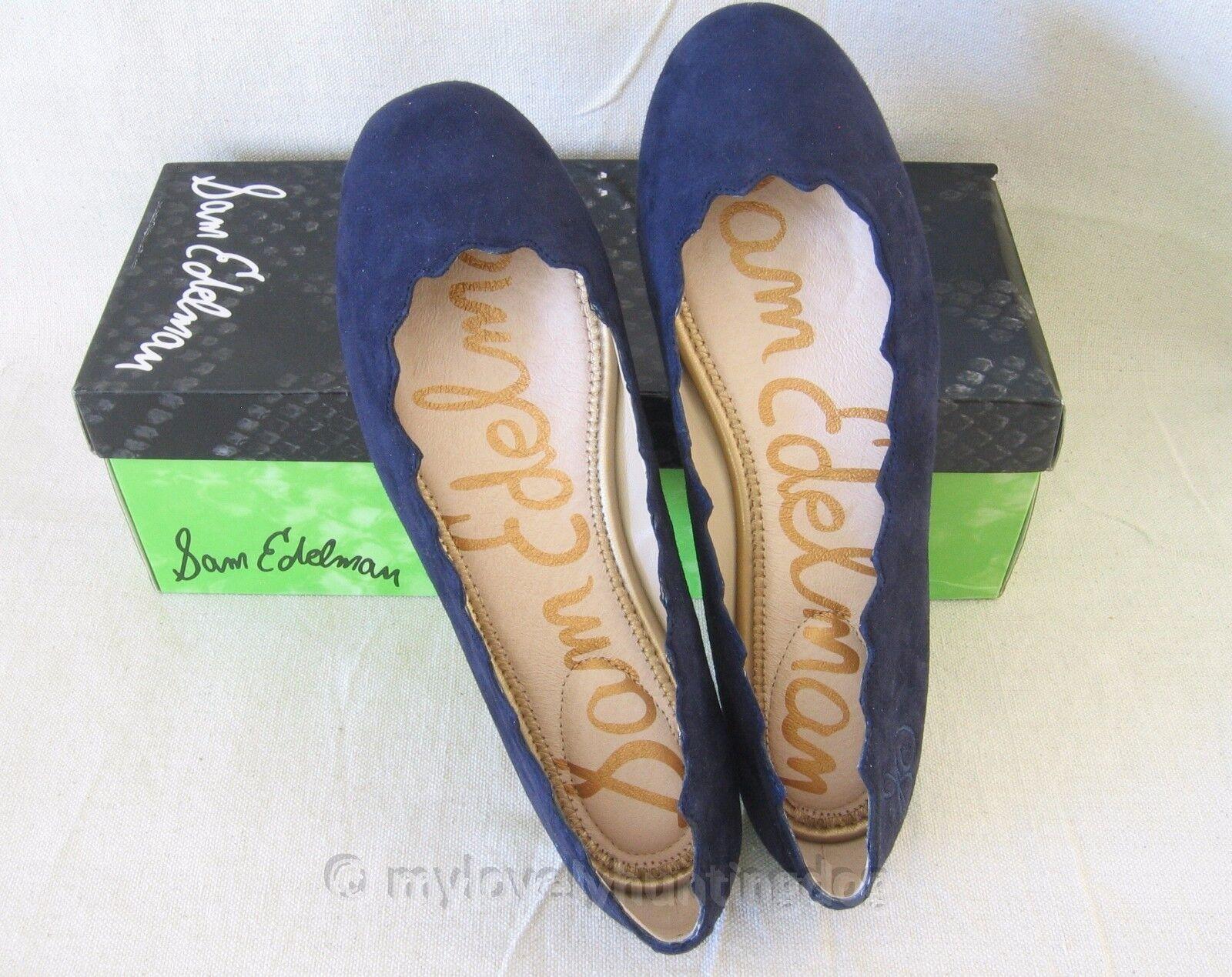 NIB Auth Sam Edelman Suede Leather Ballet Flats Sz 6.5 M Space Blue