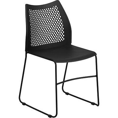 Flash Furniture HERCULES Series 661 lb. Capacity Black Sled Base Stack Chair...