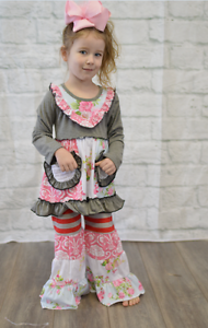 Girls Ruffle Boutique 2 pc Set Pink Gray Red Long Sleeve Remake Easter