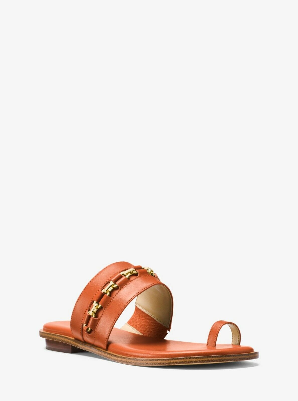 Sadie Embellished Leather Sandals orange