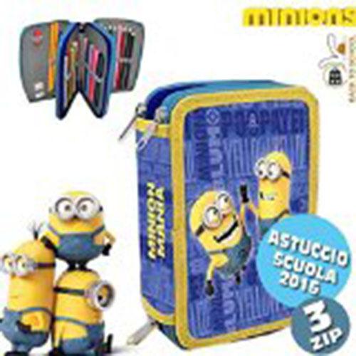 Astuccio 3 Zip Minions Portapastelli Portapenne Astuccio con Colori e Accessori