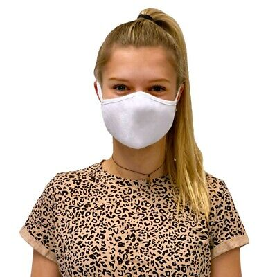 White Cotton Uk Face Covering Mask Breathable Washable Nose Mouth Protection Ebay