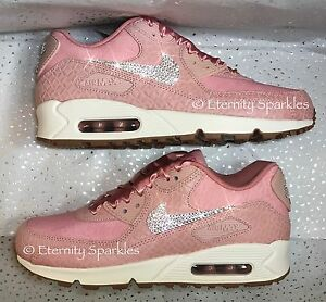 timeless design 2ca79 864da Details about Customised Pink Glaze Crystal Sparkle Nike Air Max 90 Premium  Ladies Trainers