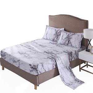 A Nice Night Mable Design Printing Bed Sheet Bedding Set, 100% Soft Microfiber