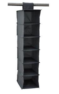 Image Is Loading 6 Shelf Hanging Organizer Closet Rod Black Fabric