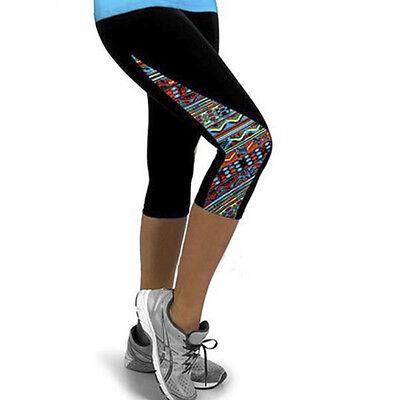 Women Capri Running Yoga Sports Pants Floral High Waist Cropped Leggings Fitness