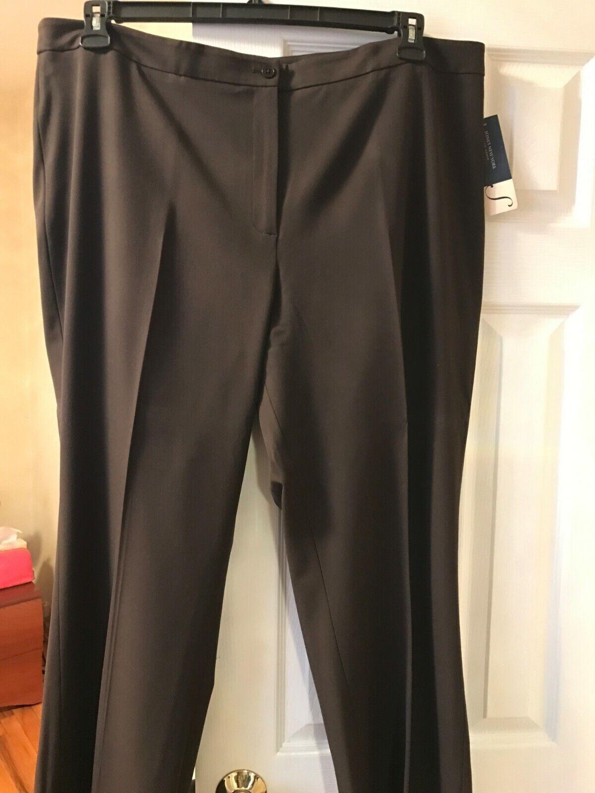 NWT  95 Jones New York Wide Leg Pants in Dark Chocolate Size 22W.