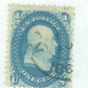US-63 Ben Franklin 1c issued 1861-62 cancelled