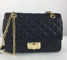 NEW $298 MICHAEL KORS Hannah Black Quilted Shoulder Flap Bag Purse