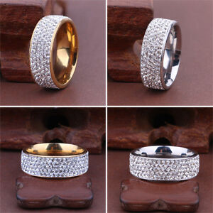 Men-Women-Stainless-Steel-Crystal-Band-Ring-Gold-Silver-Wedding-Band-Ring-Sz8-10