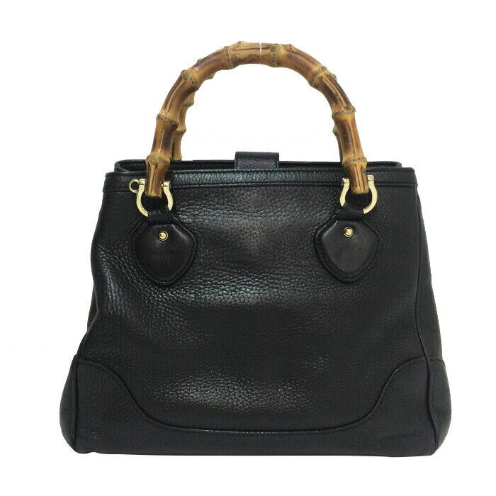Auth GUCCI DIANA banboo Hand Bag 308360 Black - image 1