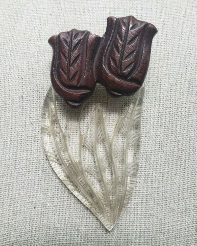 Vintage Lucite and Wood Hand Carved Brooch Pin cir