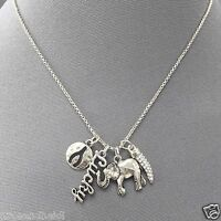Silver Finish Chain Elephant Lucky Wishbone Horn Charm Pendant Necklace