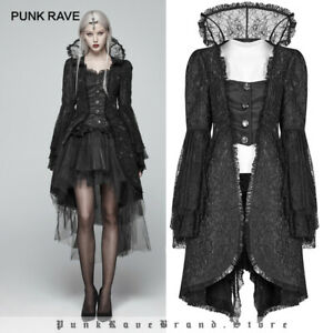 Punk Rave Victorian Black Gothic Long Coat Steampunk Jacket Trench Military Lace