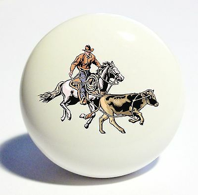 COWBOY CALF HORSE HOME DECOR CERAMIC KITCHEN  KNOB DRAWER CABINET PULL