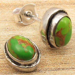 0-99-Auction-Stud-Earrings-GREEN-COPPER-TURQUOISE-Silver-Plated-Over-Copper