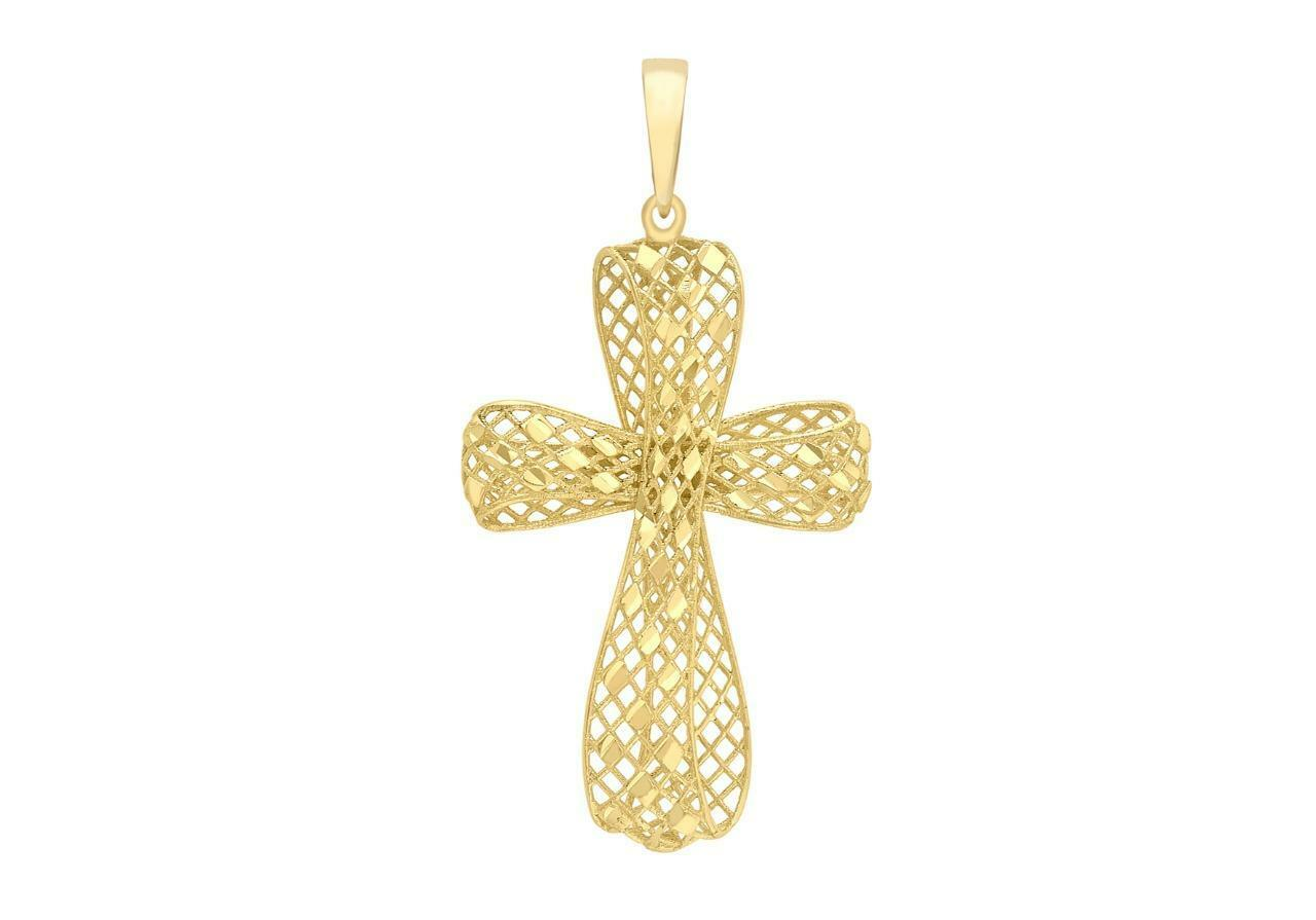 9ct Yellow gold Modern Diamond-Cut Mesh Holy Cross Christian Pendant Gift Boxed
