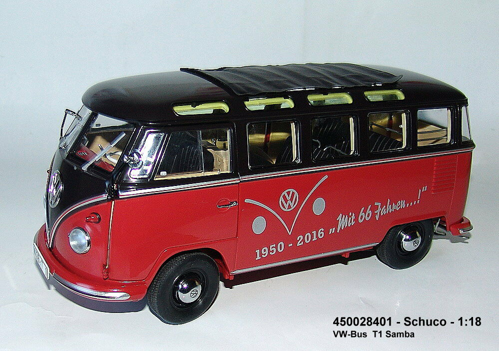 450028401 schuco - vw - bus t1 - 2b samba rot   schwarz nuovo confezione kehren