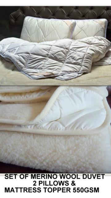 SET of Merino Wool Duvet Quilt 4tog SUPER KING SIZE 2 PILLOWS  Mattress Topper