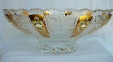 Bohemia Crystal Hand Cut Pedestal Bowl with Gold 14'' Wide
