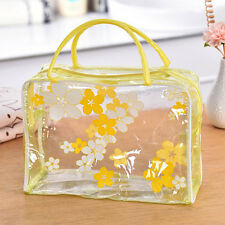 Transparent PVC Flower Waterproof Makeup Toiletry Travel Wash Cosmetic Pouch YE