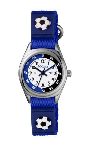 Tikkers Boys Football Theme Time Teacher Blue Nylon Strap Watch - TK0122