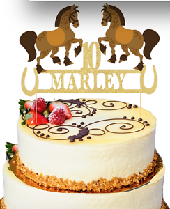 Surprising Horses Themed Birthday Cake Topper Personalised Any Name And Age Funny Birthday Cards Online Alyptdamsfinfo