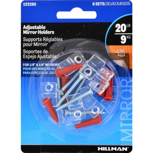 NEW HILLMAN Anchorwire Adjustable Mirror Holder Kit 6-Pack 122280