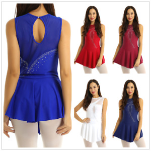 Women-039-s-Mesh-Splice-Figure-Ice-Skating-Roller-Skating-Ballet-Dance-Leotard-Dress